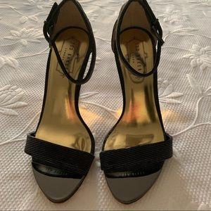 NWOT Ted Baker London black satin strappy sandals